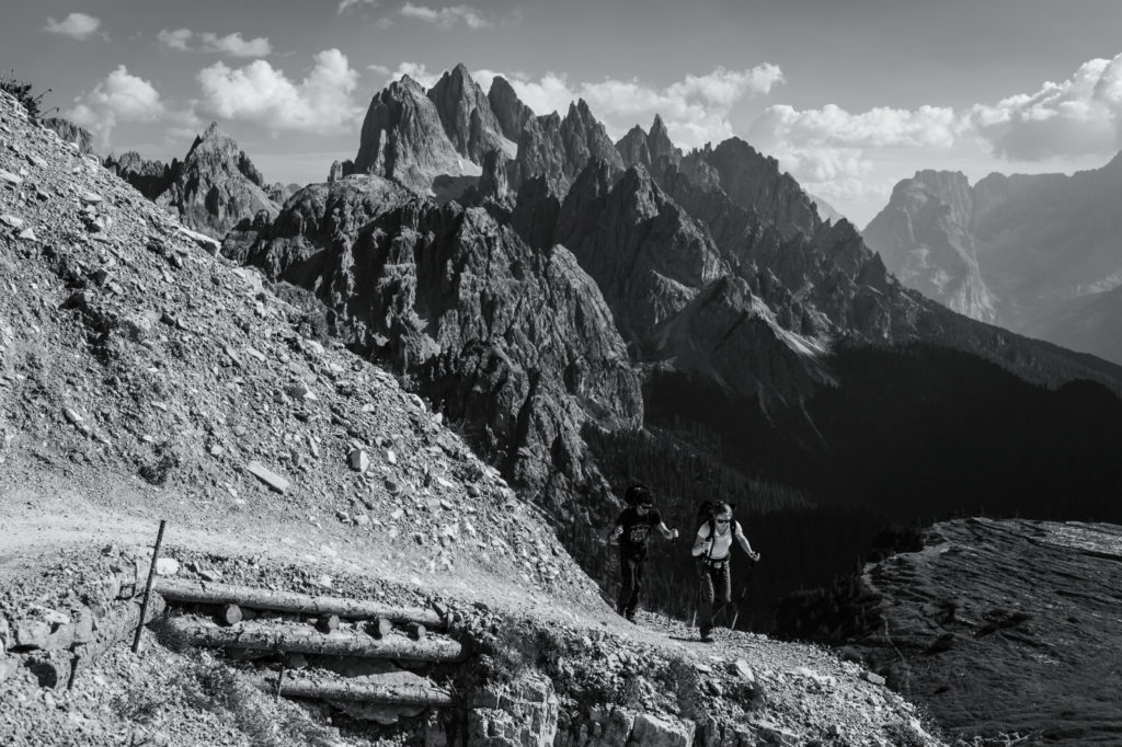 Black Diamond Global Athlete Babsi Zangerl and Black Diamond Ambassador Jacopo Larcher / Tre Cime, The Dolomites, Italy / Photographer: Mattias Fredriksson